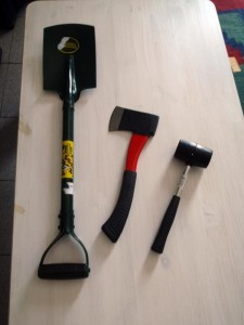 Recovery Spade, Hatchet, Mallet